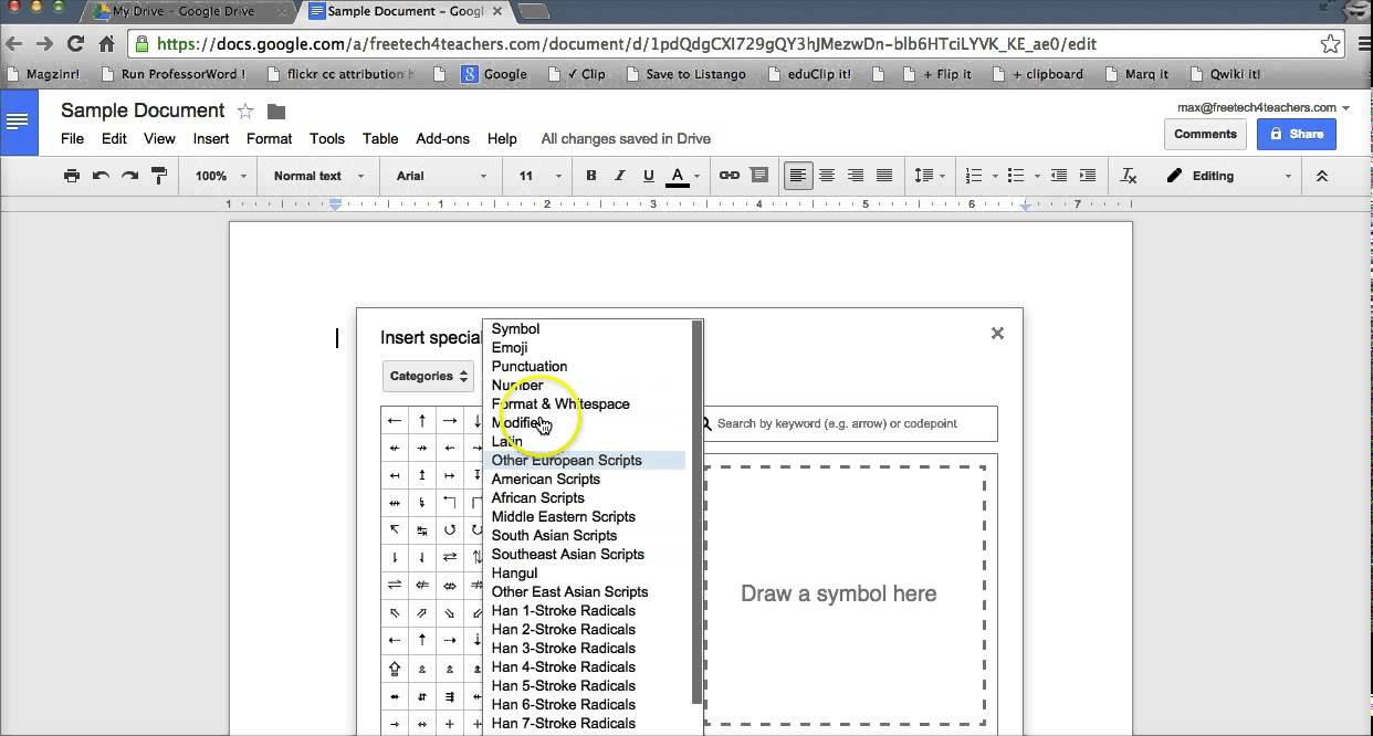 How To Insert Special Characters Into Google Documents Youtube