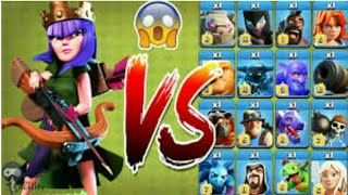 Archer Queen VS COC all troops and spell