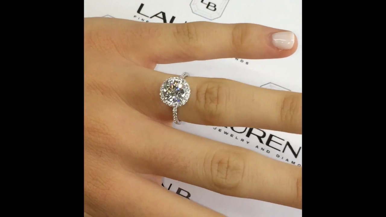 2 Carat Round Diamond Engagement Ring In Micropave Halo   YouTube