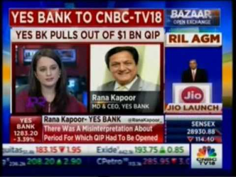 Mr. Rana Kapoor, MD & CEO, YES BANK in Conversation with CNBC TV18 on September 9th 2016