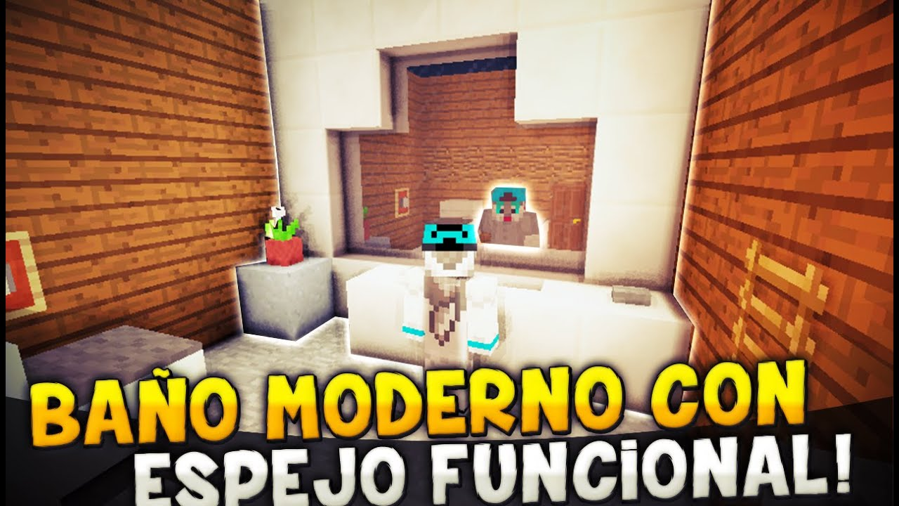 Minecraft como hacer un ba o moderno con espejo funcional for Minecraft moderno