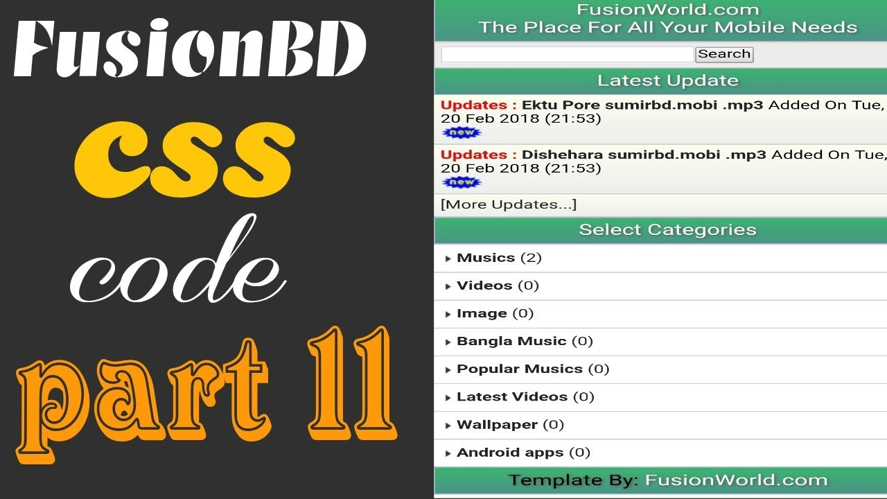 FusionBD CSS theme code | New theme code for wapkiz Site | part 11| Bangla  Tutorial