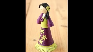 How to make a simple and cute quilling doll/Quilling doll Tutorial