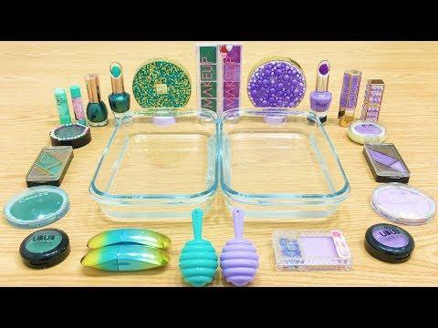 Purple vs Teal ! Mixing Makeup Eyeshadow into Clear Slime   Satisfying Slime Videos #611