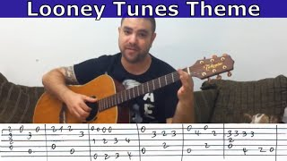 Tutorial: Looney Tunes Theme (Chet Atkins arrangement) - w/ TAB (aka Merrily We Roll Along)