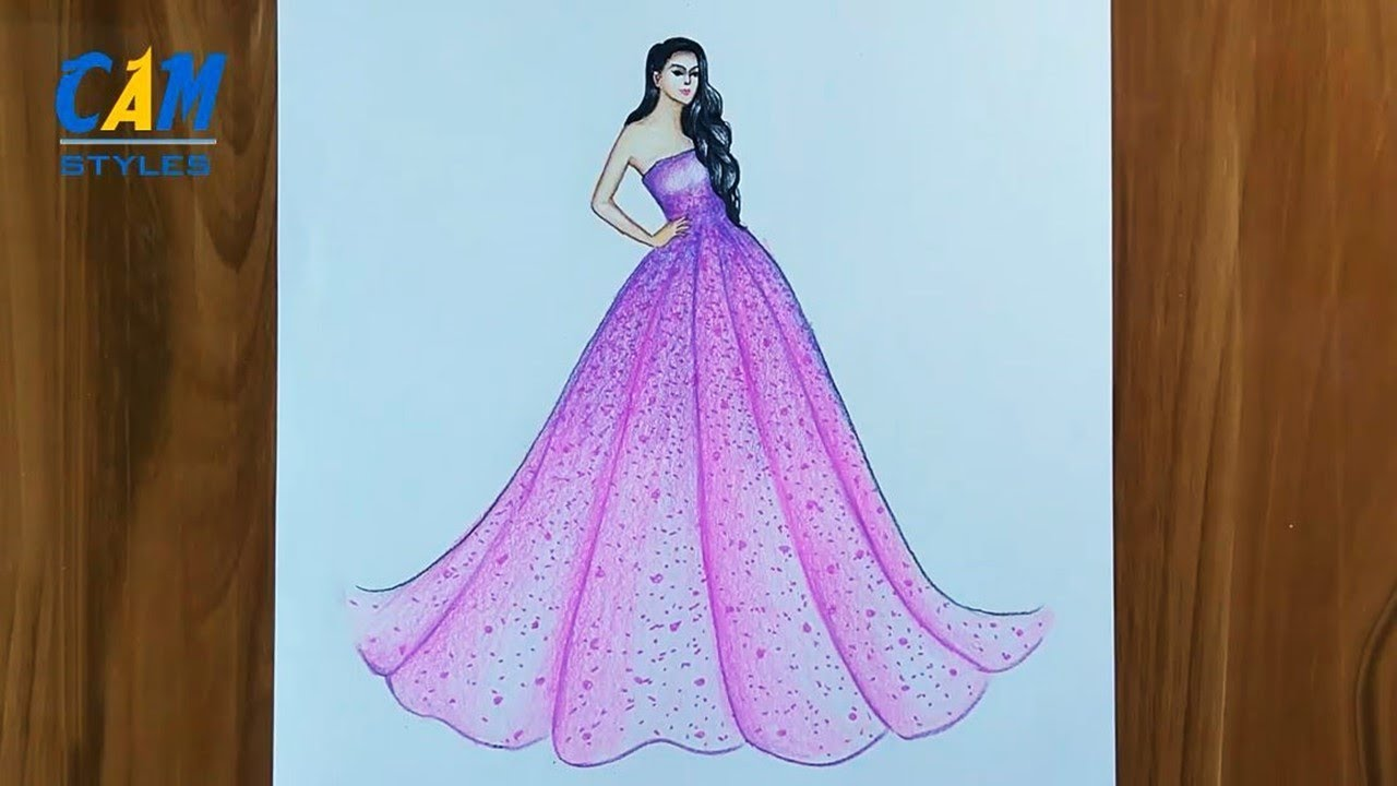 Pink Dress Drawing How To Draw A Girl With Beautiful Dress Youtube