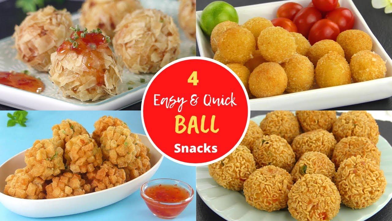 4 easy & Quick Ball Snacks by Tiffin Box | Chicken Ball | Prawn Ball | Maggi Ball | Cheese Ball