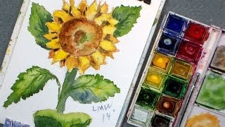 how to paint a sunflower in watercolor