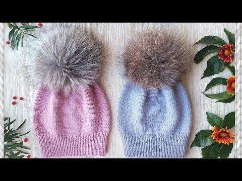 Как связать шапку для девочек спицами