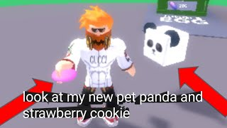 Roblox cookies simulator:look at my new pet and strawberries cookies