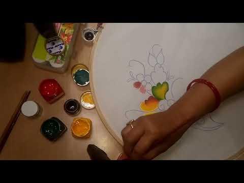 Folk Art Stroke Painting | Fabric Painting Tutorial Video | Kamakshi Arts And Crafts