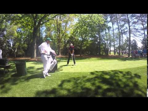 Ian Poulter teeing off at the Augusta National before The Masters
