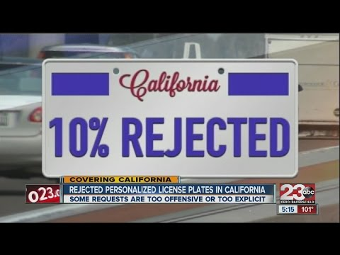 Rejected personalized license plates in California