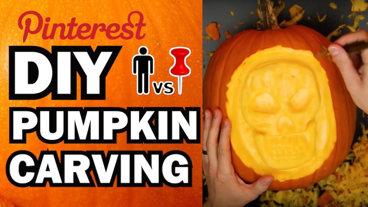 diy pumpkin carving contest - man vs corinne vs pin - youtube