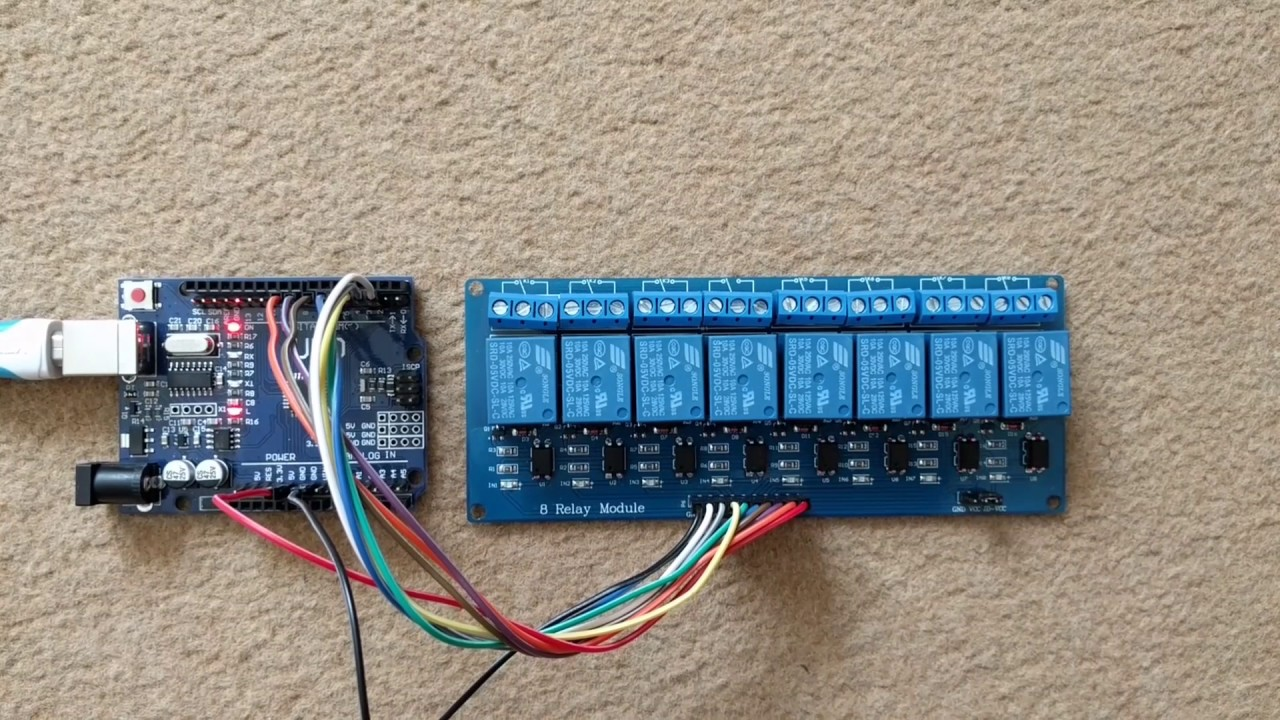 B r testing an channel relay module on arduino uno
