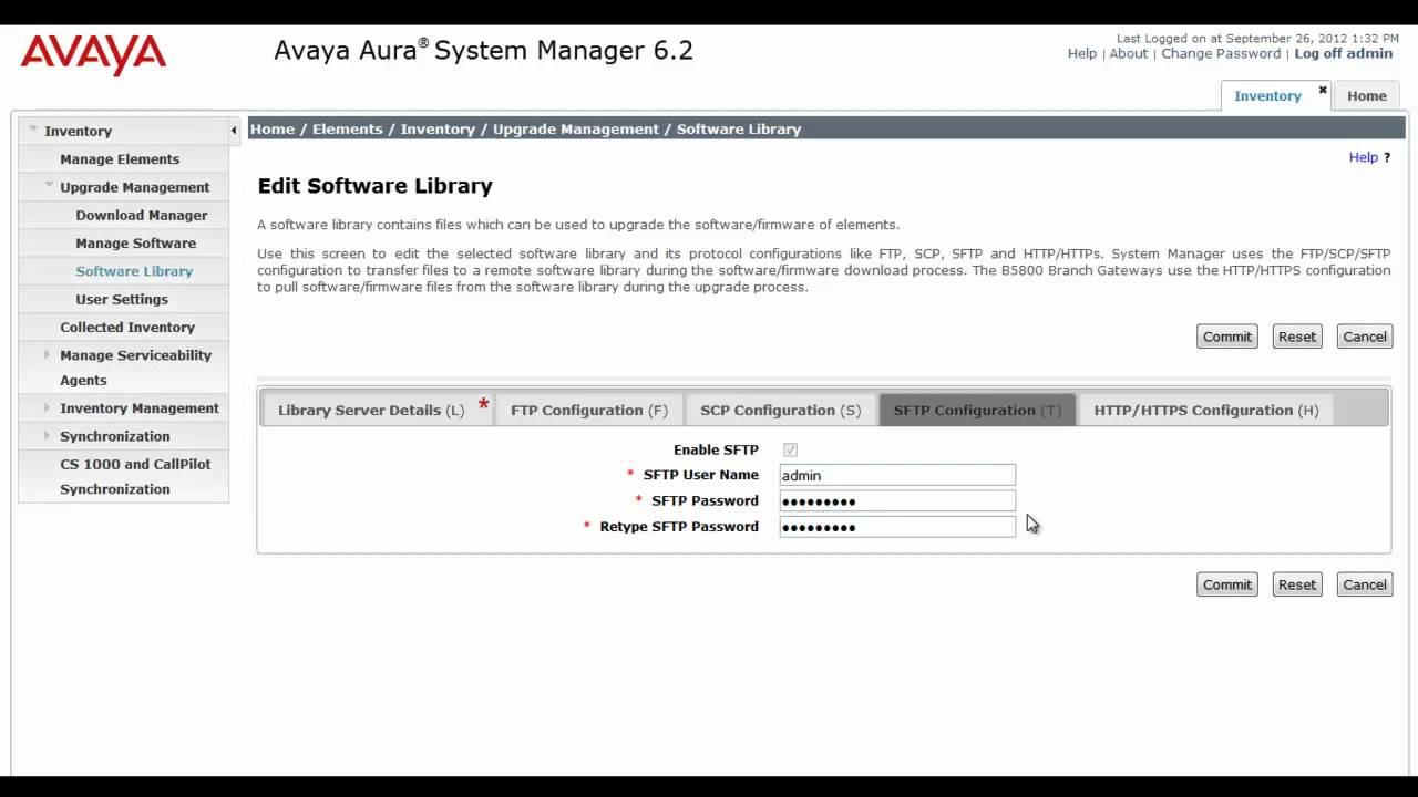Configuring Avaya Aura System Manager Software Library for Avaya B5800  Branch Gateway
