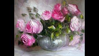 """Картина маслом поэтапно """"Букет роз мастихином"""". Bouquet of roses.Picture"""