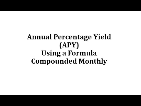 Annual Percentage Yield (APY) Using A Formula (Monthly)