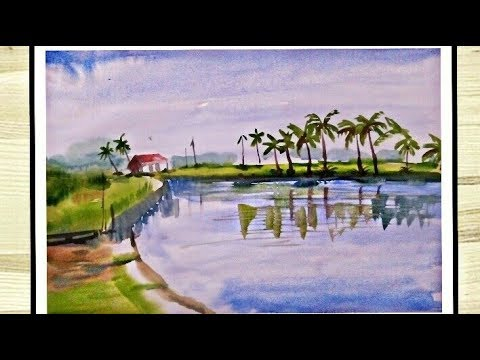 watercolor landscape painting for beginners tutorial Art drashti