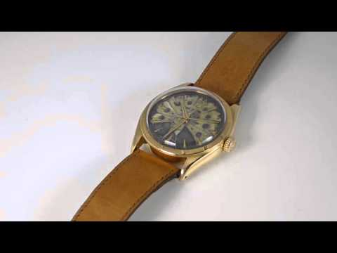 Wristwatch: rarity, pink gold Rolex chronometer with rare cloisonné dial, ref. 6085 from 1953