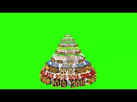 Футаж Елка новогодняя 2019 3D green screen loop tree