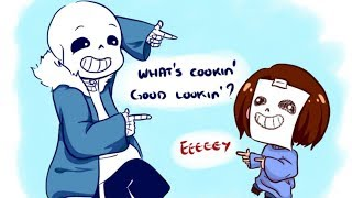 Frisk watchs horror movie with Sans【 Epic Undertale Comic dubs 】