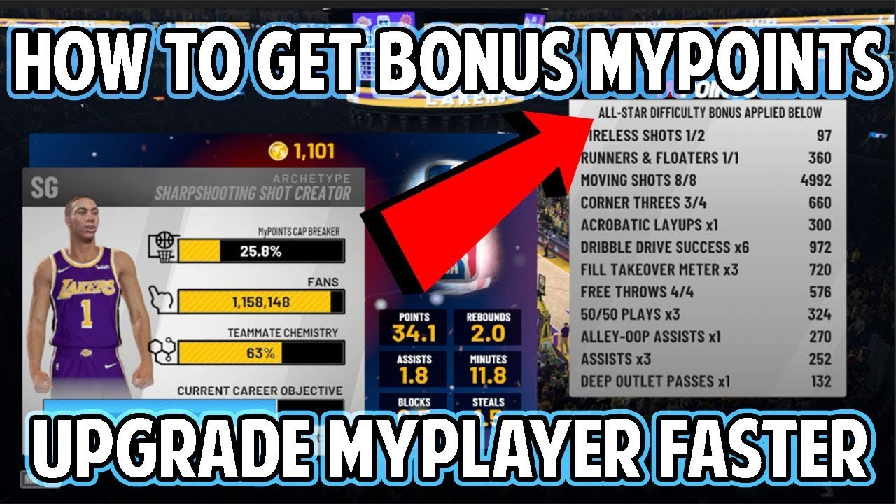 NBA 2K19 HOW TO GET BONUS MYPOINTS TO UPGRADE YOUR PLAYER FASTER! GET TO 90  OVERALL QUICK!