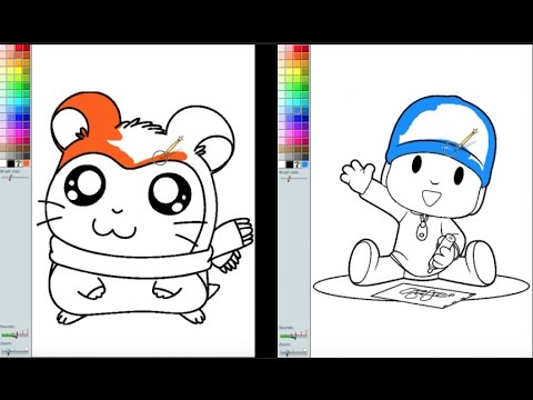 Hamtaro VS Pocoyo Coloring Book Pages Fun Video For Kids and ...