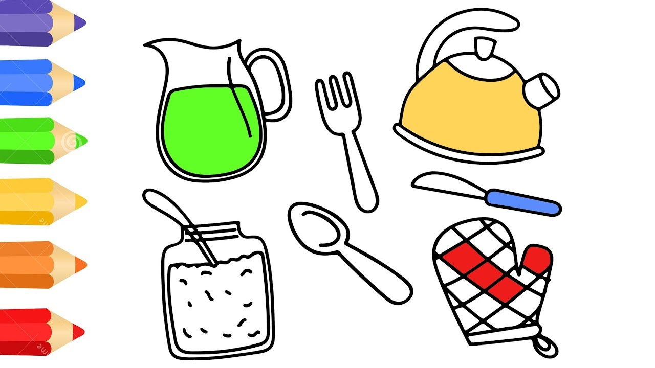 How To Draw Kitchen Set Toy W Coloring Pages For Kids Art Colour For