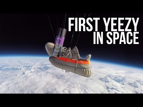 Unbelievable : Adidas Yeezy Boost 350 v2 in space!! Go pro Footage