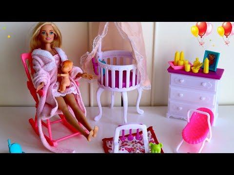 Barbie Nursery Room Cot Bed Barbie Baby Morning Routine - Barbie Pink Bedroom Baby Nursery Room