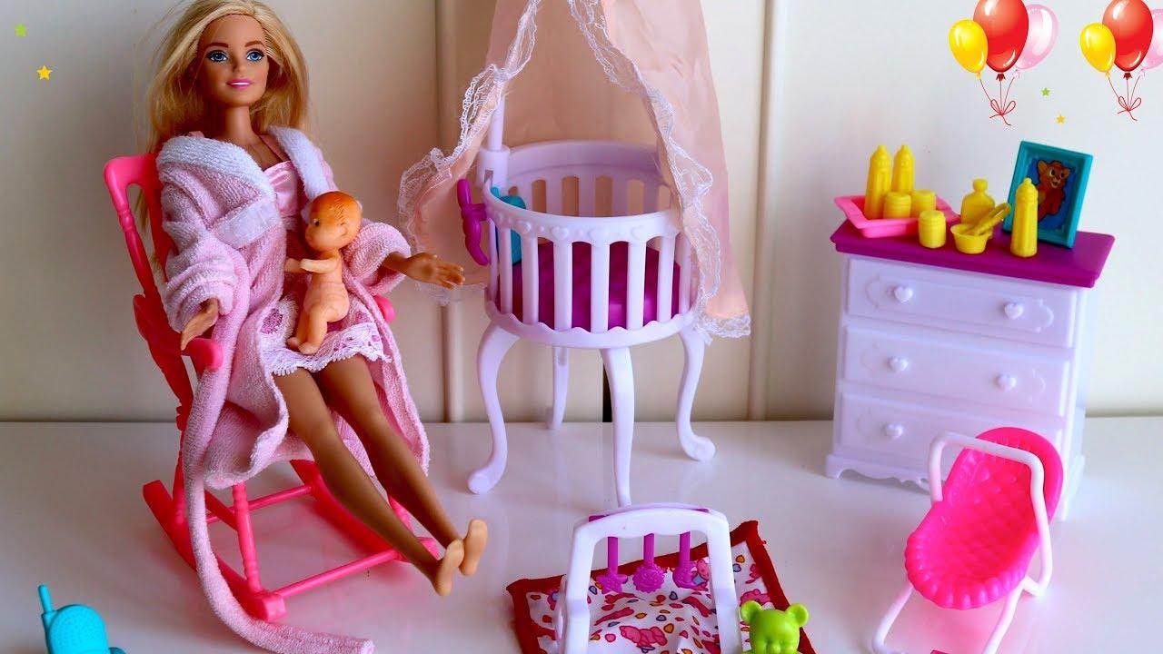 Barbie Nursery Room Cot Bed Barbie Baby Morning Routine