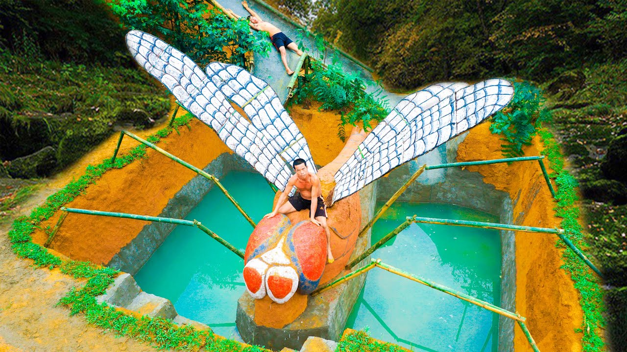 Build Dragonfly Swimming Pool And Water Slide Into Secret Underground House