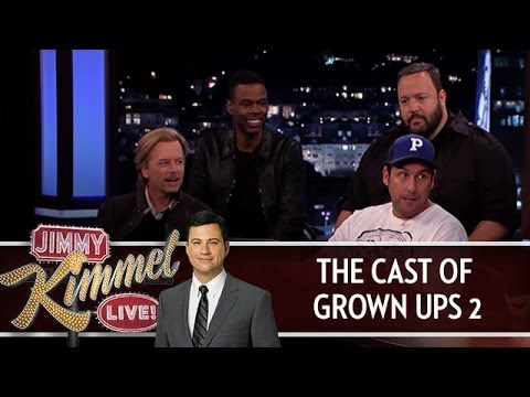 The Cast of Grown Ups 2 on Jimmy Kimmel Live PART 1 - Jimmy Kimmel Live - The first part of Jimmy's interview with the cast of Grown Ups 2, Adam Sandler, Chris Rock, David Spade, and Kevin James.