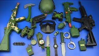 Box of Toys ! Military equipment - Military Guns Toys for kids ! Special Force Combat