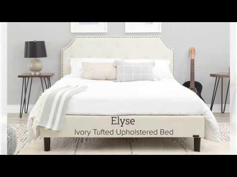 Abbyson Elyse Ivory Tufted Upholstered Bed Youtube