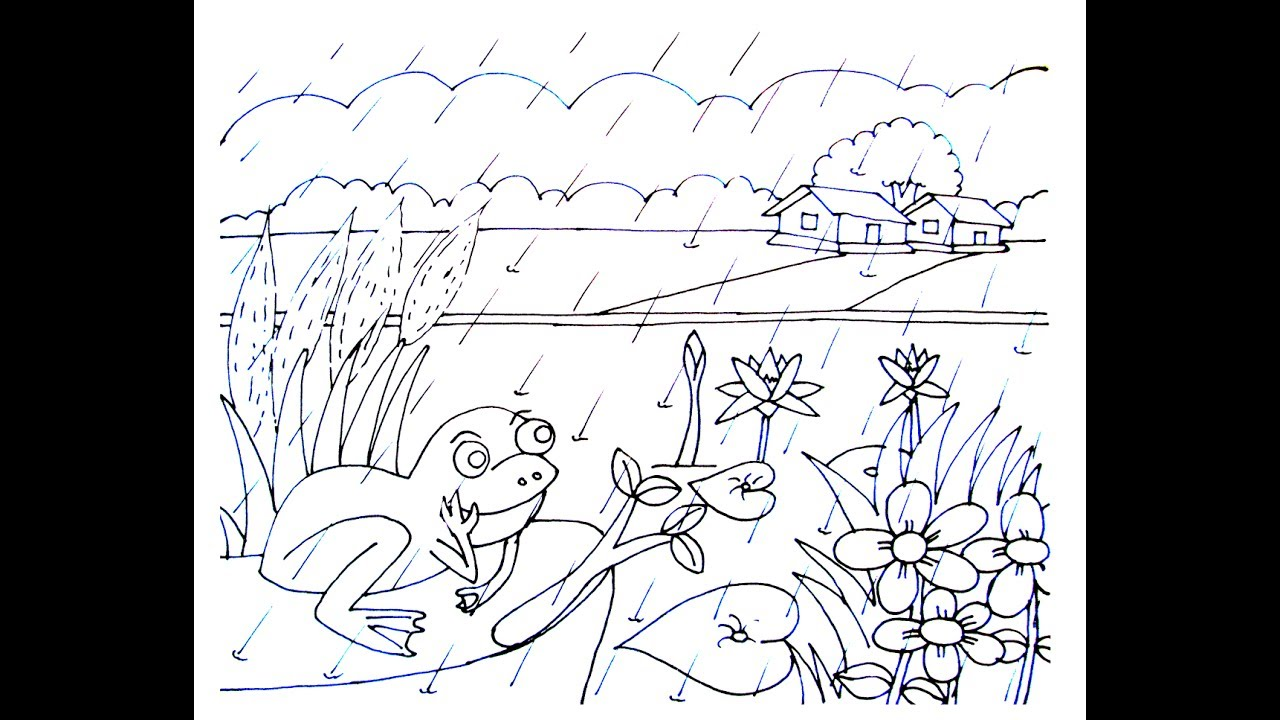 Village scenery drawing rainy season beauty 1 art tutorial 2017