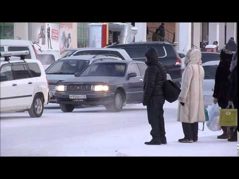 Walking in Yakutsk - Oymyakon, Siberia, Yakutia, Russia at –50C (December 2014)