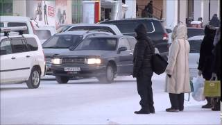 Walking in Yakutsk - Oymyakon, Siberia, Yakutia, Russia at -50C (December 2014)