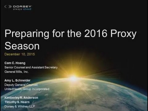 Seminar Playback: Preparing for the 2016 Proxy Season