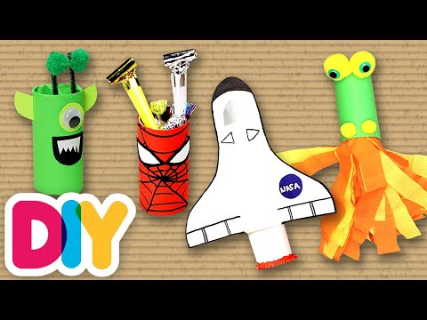 4 Creative PAPER ROLL Crafts your kids will love | Fast-n-Easy | DIY Arts & Crafts for Kids