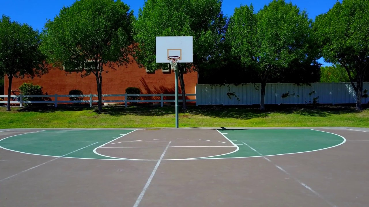 DJI Mavic Pro Drone Aerial View Of An Outdoor Basketball Court