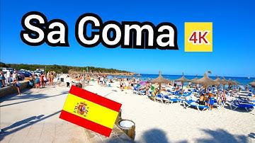 ⁴ᴷ SA COMA walking tour 🇪🇸 shops bars and beach, Mallorca Spain (Majorca) 4K
