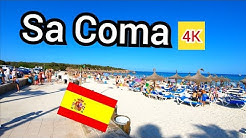 ⁴ᴷ SA COMA walking tour 🇪🇸 shops bars and beach, Mallorca Spain (Majorca) 4K