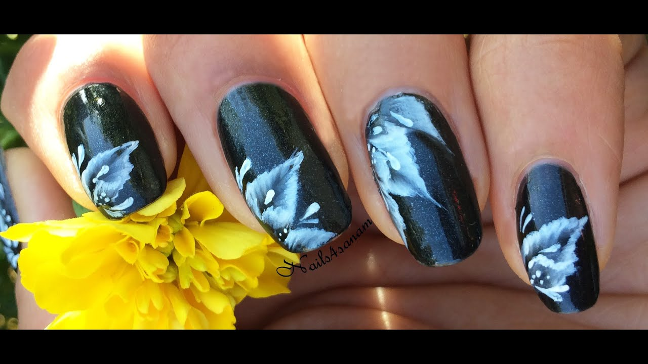 how to draw flowers on nails