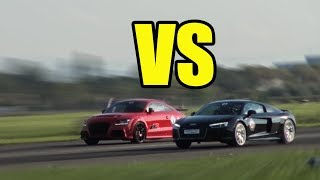 AUDI R8 V10 PLUS vs AUDI TT RS - RACE!