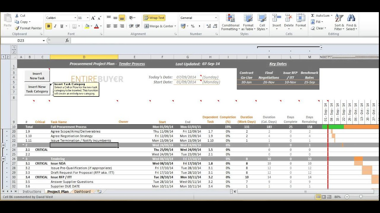 Gantt Chart Template Project Plan Youtube