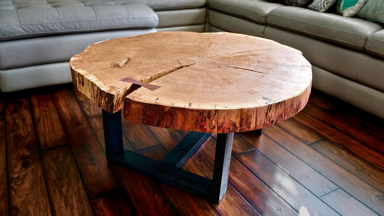 Live Edge Coffee Table How To Flatten A Live Edge Slab Woodworking Youtube