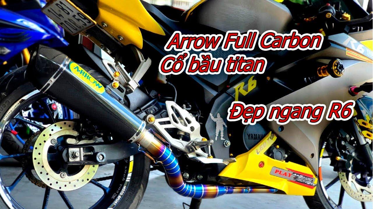 R15V3 độ pô Arrow carbon cổ bầu hơi titan đẹp ngang R6