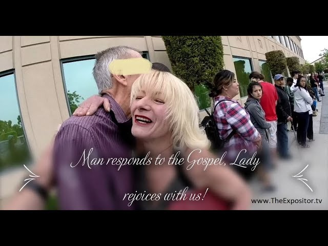 Man humbly responds to the Gospel & Lady rejoices with us, but another inserts synergism